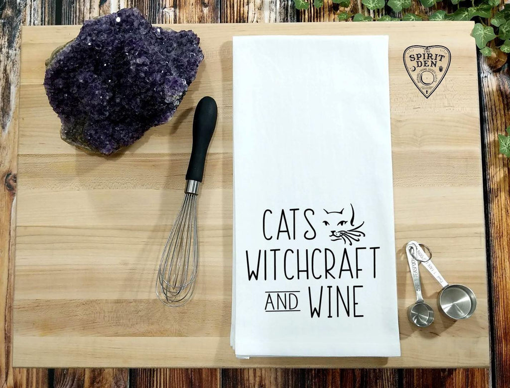 Cats Crystals Wine Flour Sack Towel