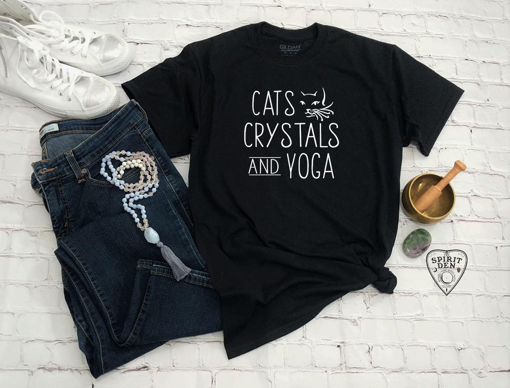 Cats Crystals and Yoga T-Shirt