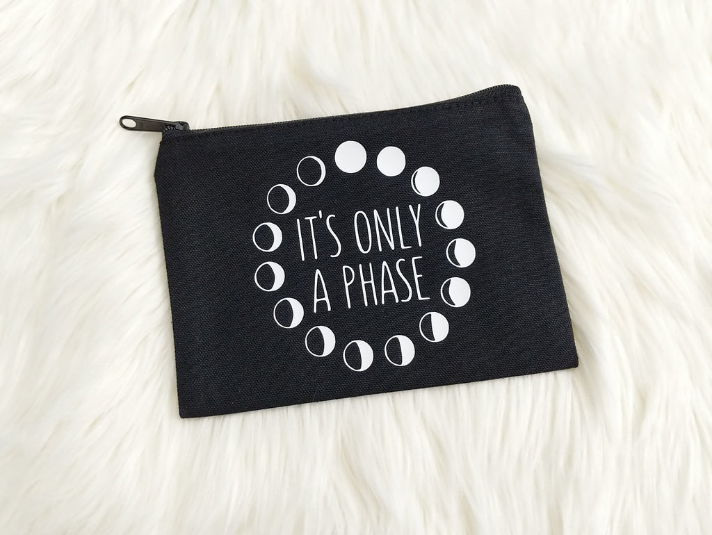 It's Only A Phase Black Canvas Zipper Bag