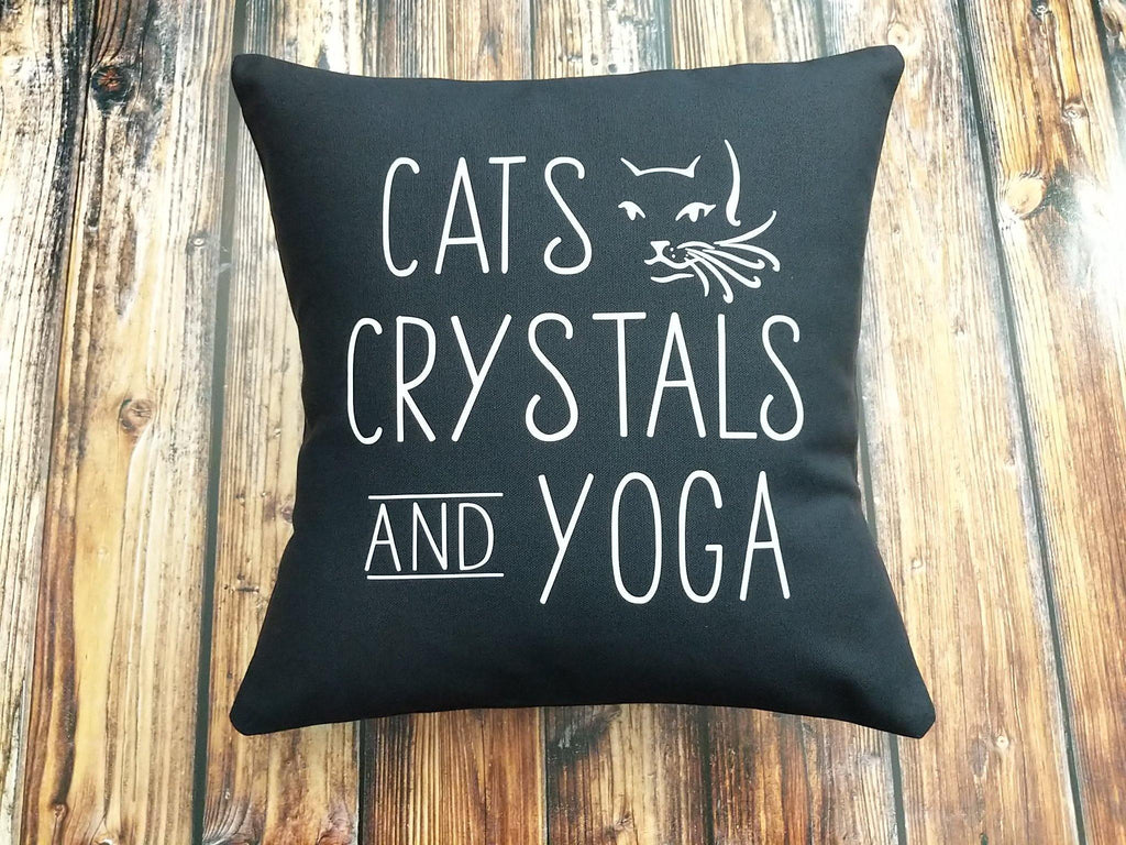 Cats Crystals Yoga Black Cotton Pillow