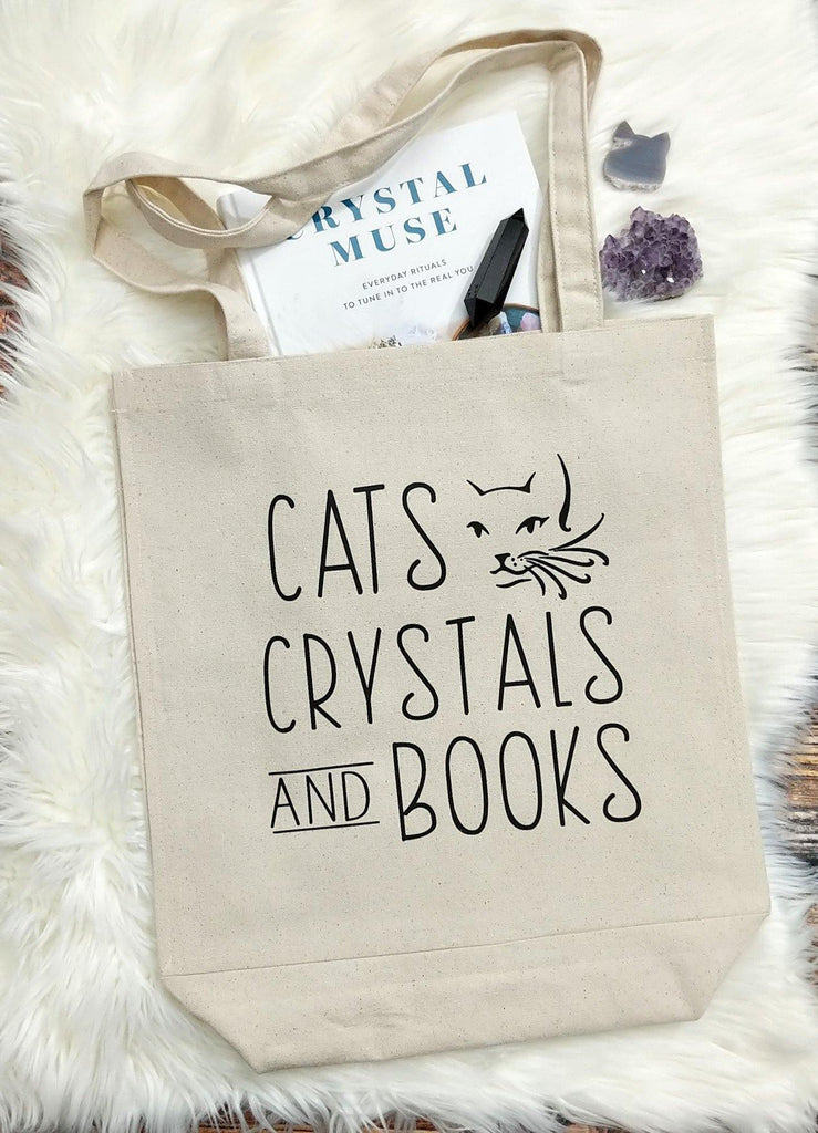 Cats Crystals and Books Cotton Canvas Market Tote Bag
