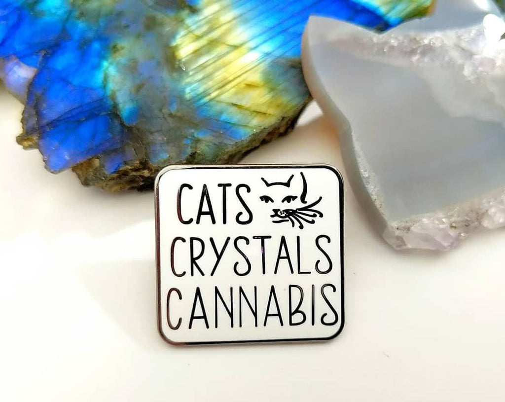 Cats Crystals Cannabis Enamel Pin