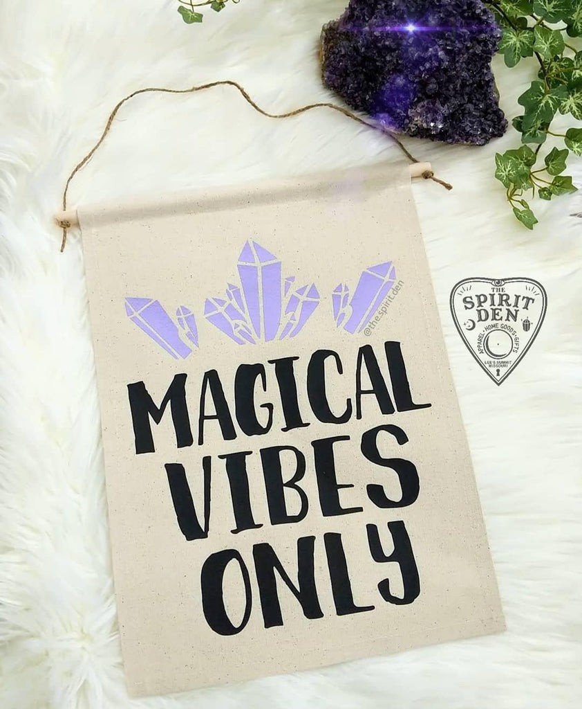 Magical Vibes Only Purple Crystals Canvas Wall Banner