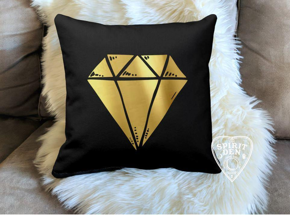Gold Gem Black Pillow