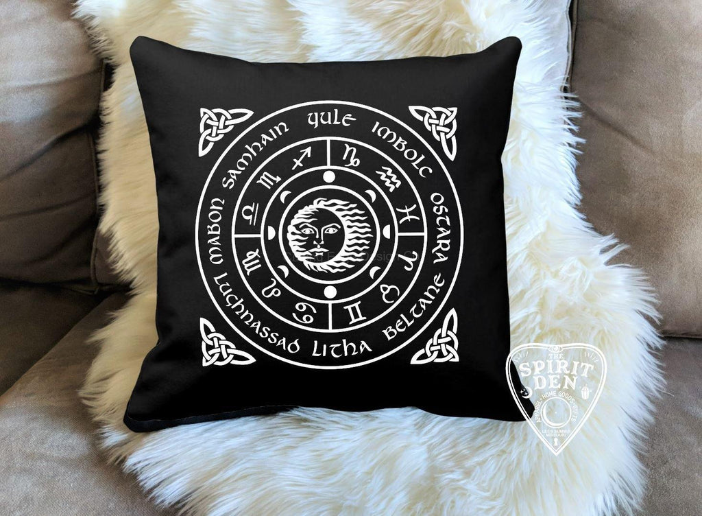 The Wheel of the Year Black Pillow