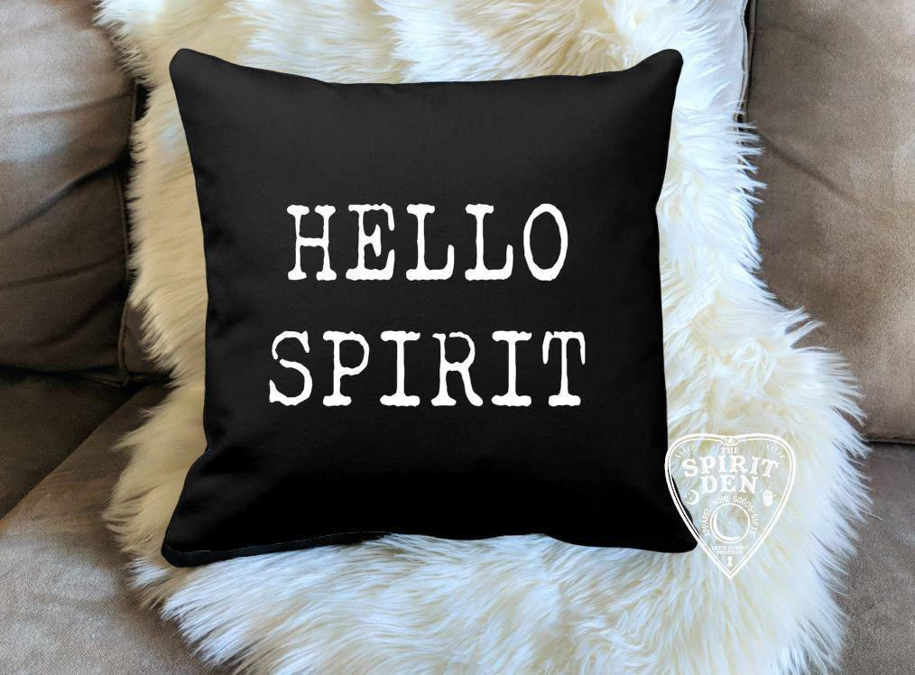 Hello Spirit Black Pillow