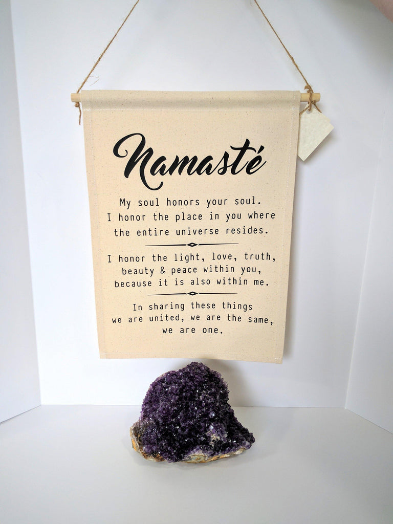 Namaste Definition Cotton Canvas Wall Banner
