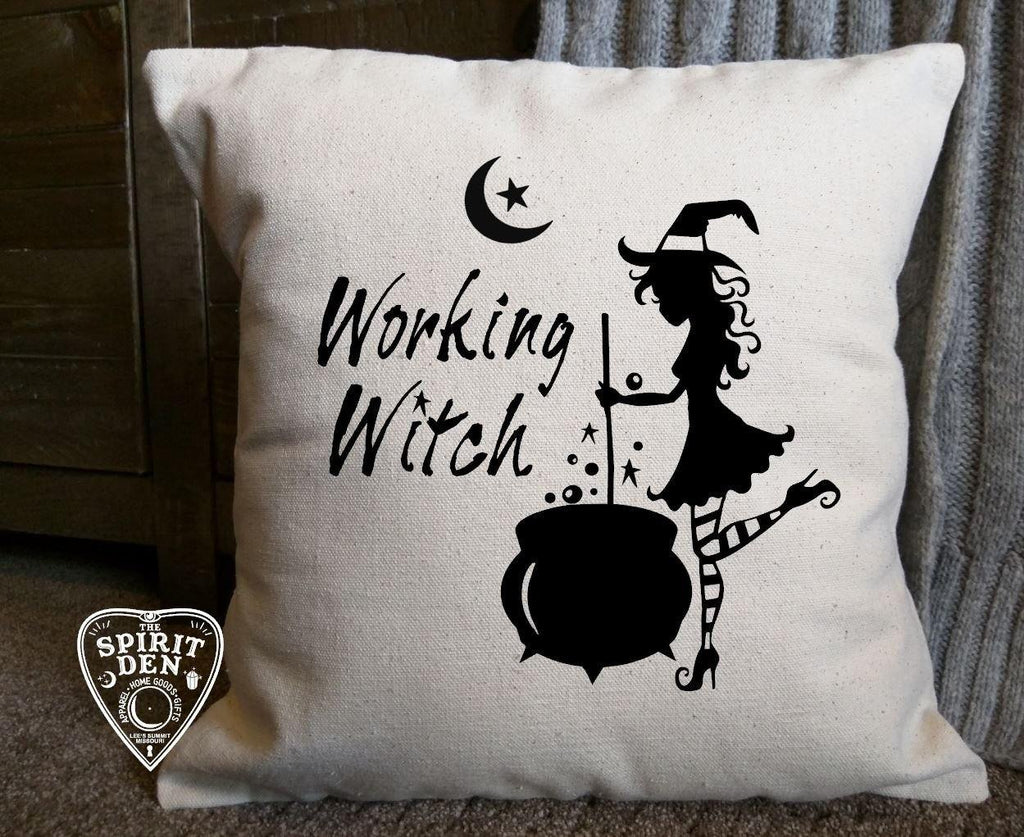Working Witch Cotton Canvas Natural Pillow