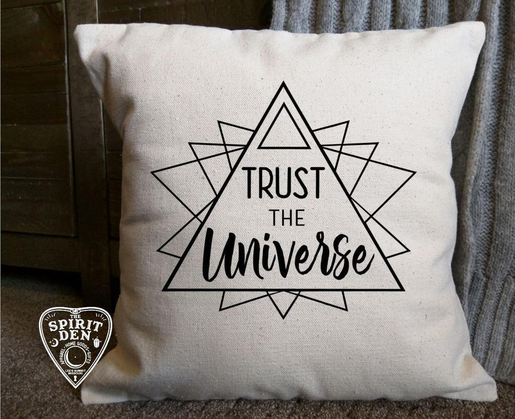 Trust The Universe Cotton Canvas Natural Pillow