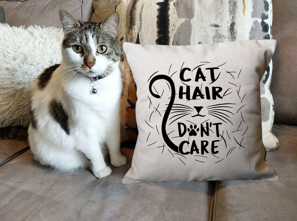 Cat Hair Don't Care Cotton Canvas Natural Pillow