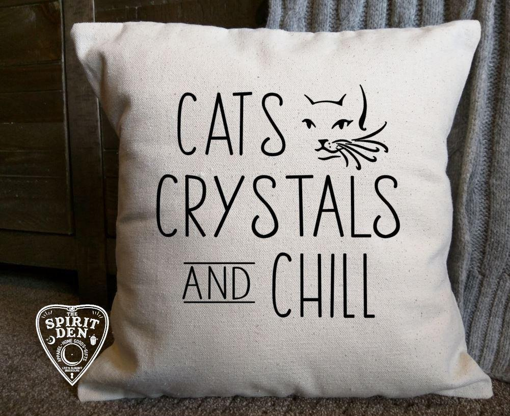 Cats Crystals and Chill Cotton Canvas Natural Pillow
