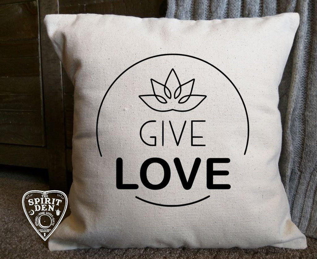 Give Love Cotton Canvas Natural Pillow