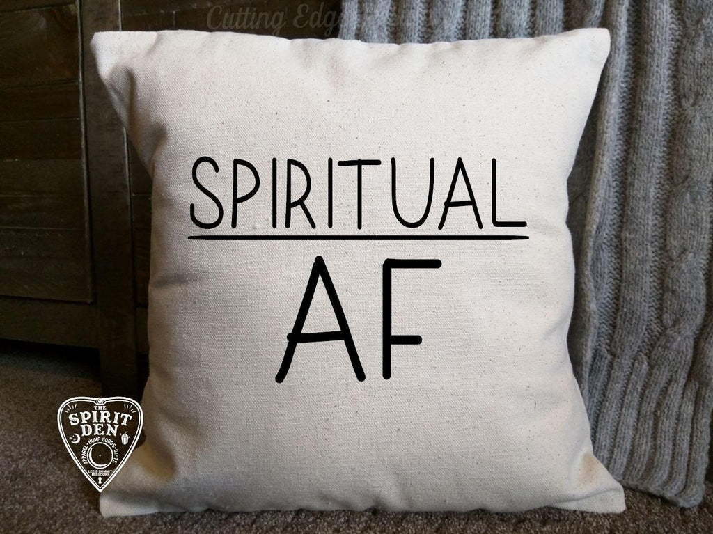 Spiritual AF Cotton Canvas Natural Pillow