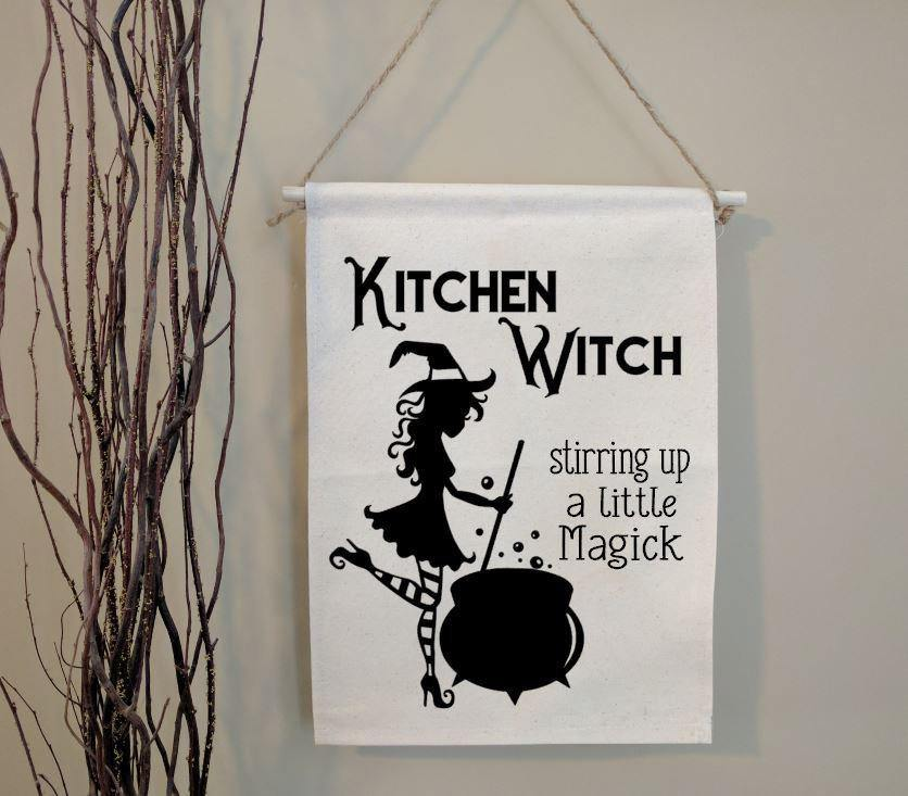 Kitchen Witch Stirring up a Little Magick Cotton Canvas Wall Banner
