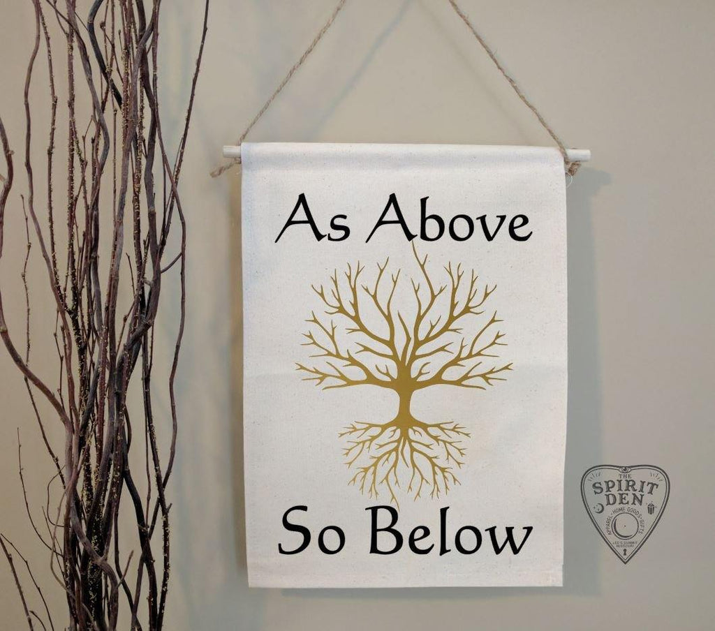 As Above So Below Tree of Life Cotton Canvas Wall Banner