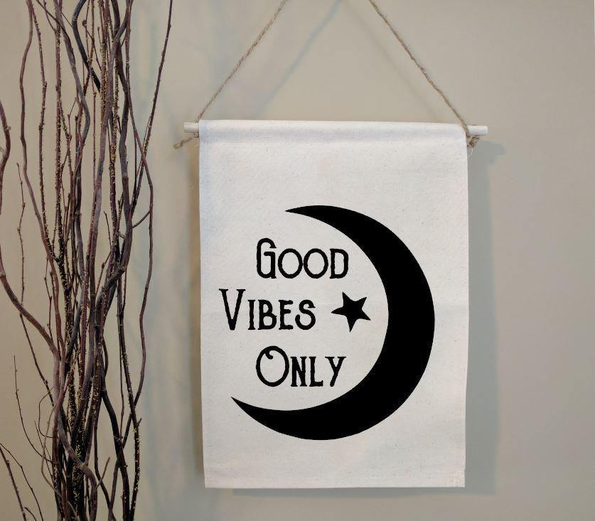 Good Vibes Only Moon Cotton Canvas Wall Banner