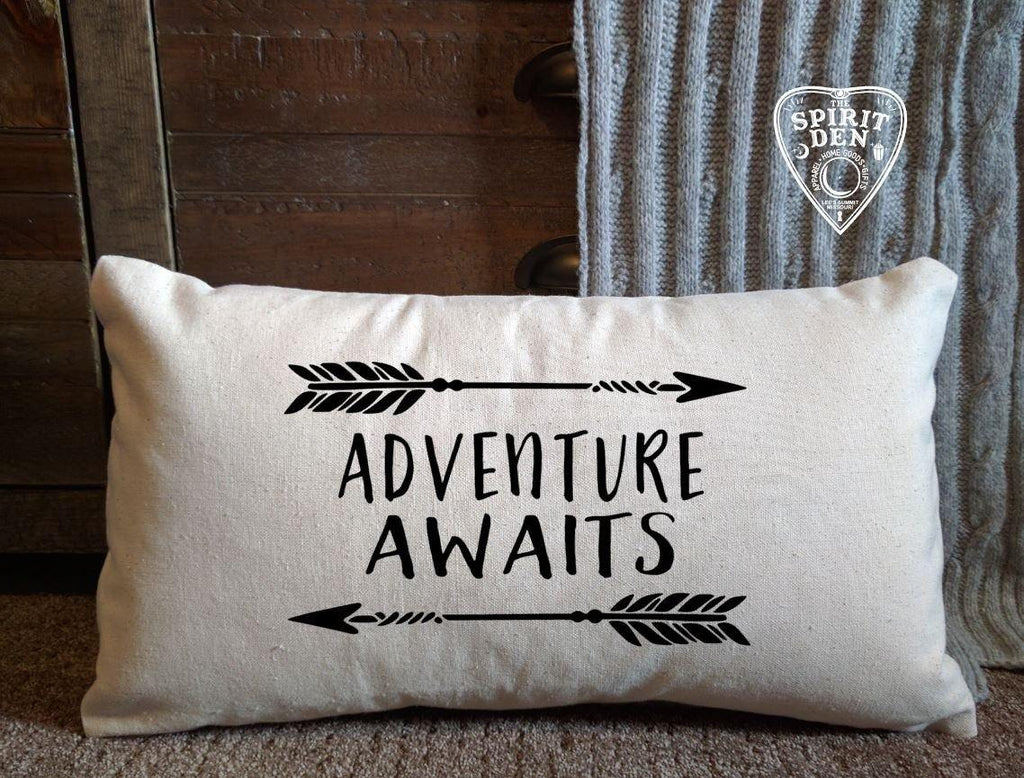 Adventure Awaits Cotton Canvas Natural Lumbar Pillow