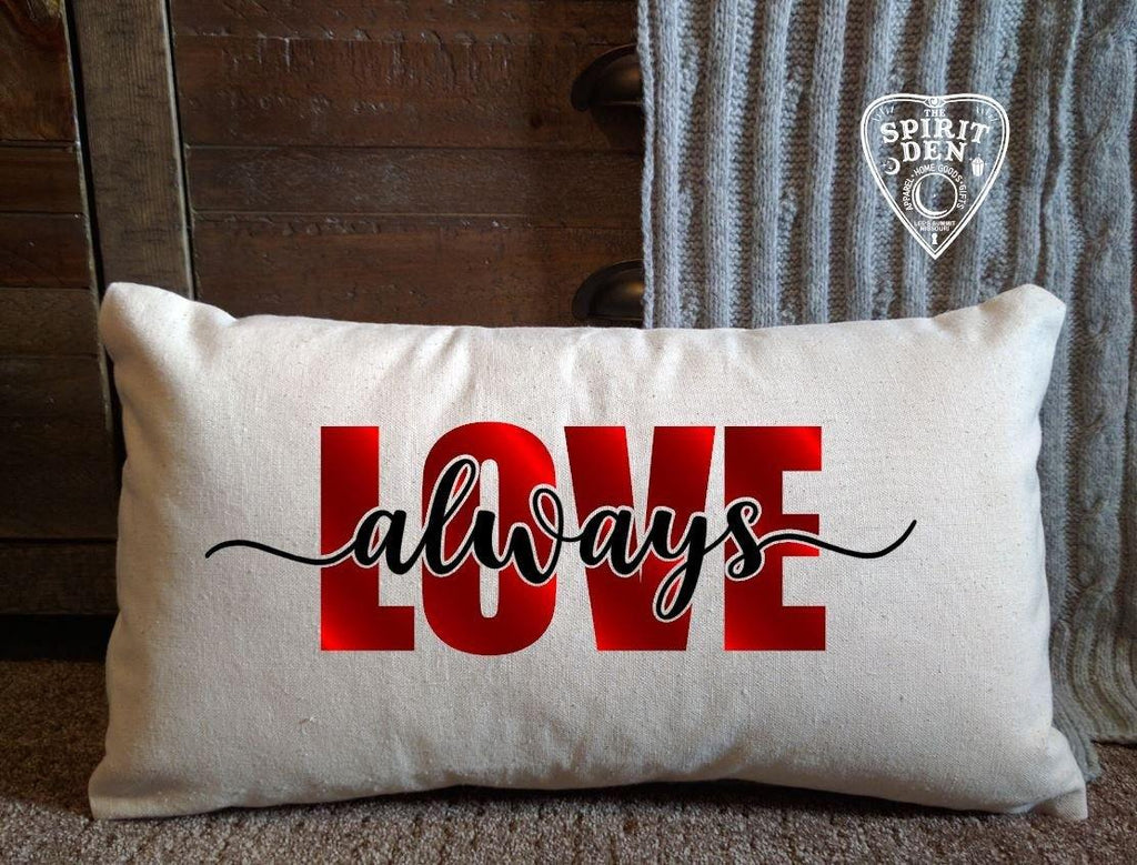 Love Always Cotton Canvas Natural Lumbar Pillow