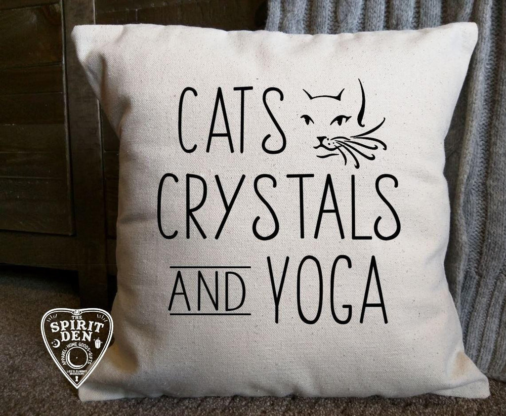 Cats Crystals Yoga Cotton Canvas Natural Pillow