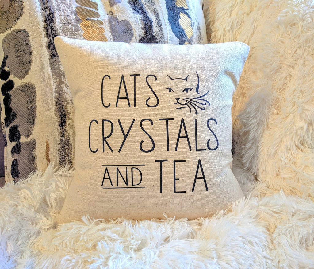 Cats Crystals and Tea Cotton Canvas Natural Pillow