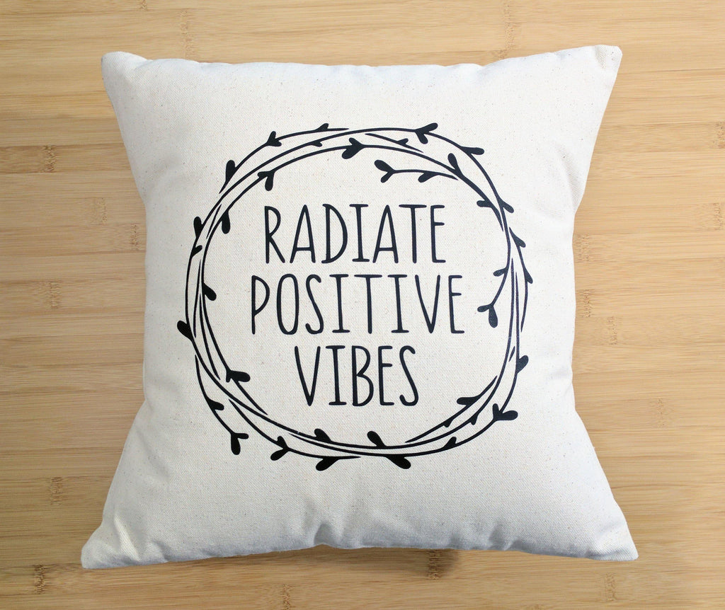 Radiate Positive Vibes Cotton Canvas Natural Pillow