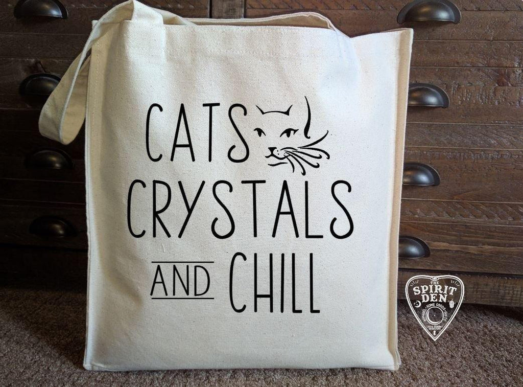 Cats Crystals and Chill Cotton Canvas Market Tote Bag