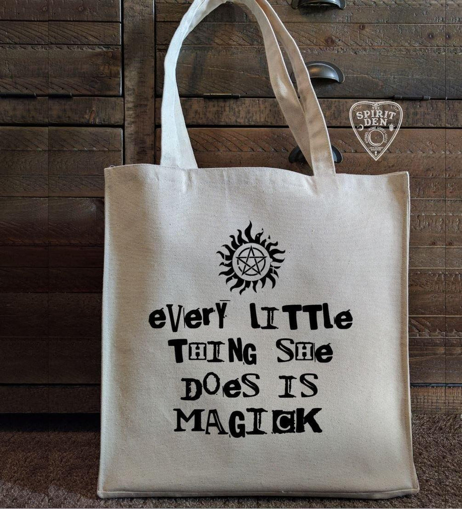 Every Little Thing She Does Is Magick Cotton Canvas Market Bag - The Spirit Den