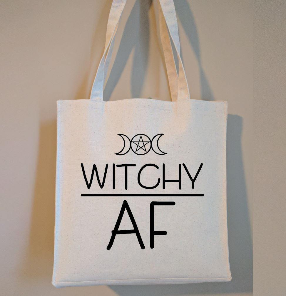 Witchy AF Cotton Canvas Market Tote Bag