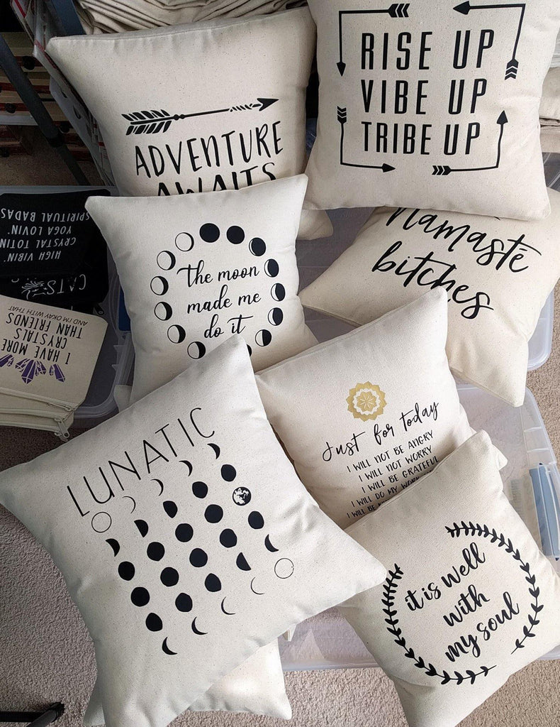 Lunatic Moon Phases Cotton Canvas Natural Pillow