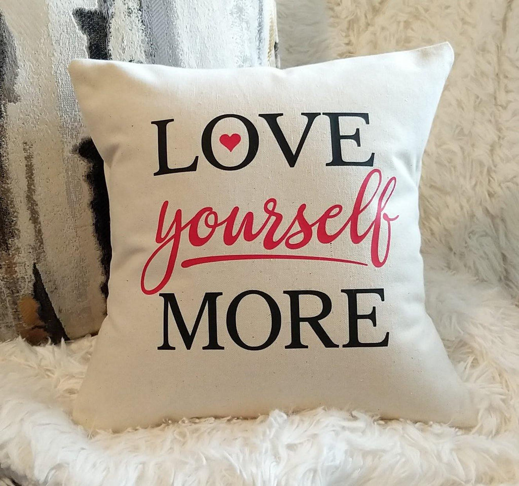 LOVE Yourself MORE Cotton Canvas Pillow