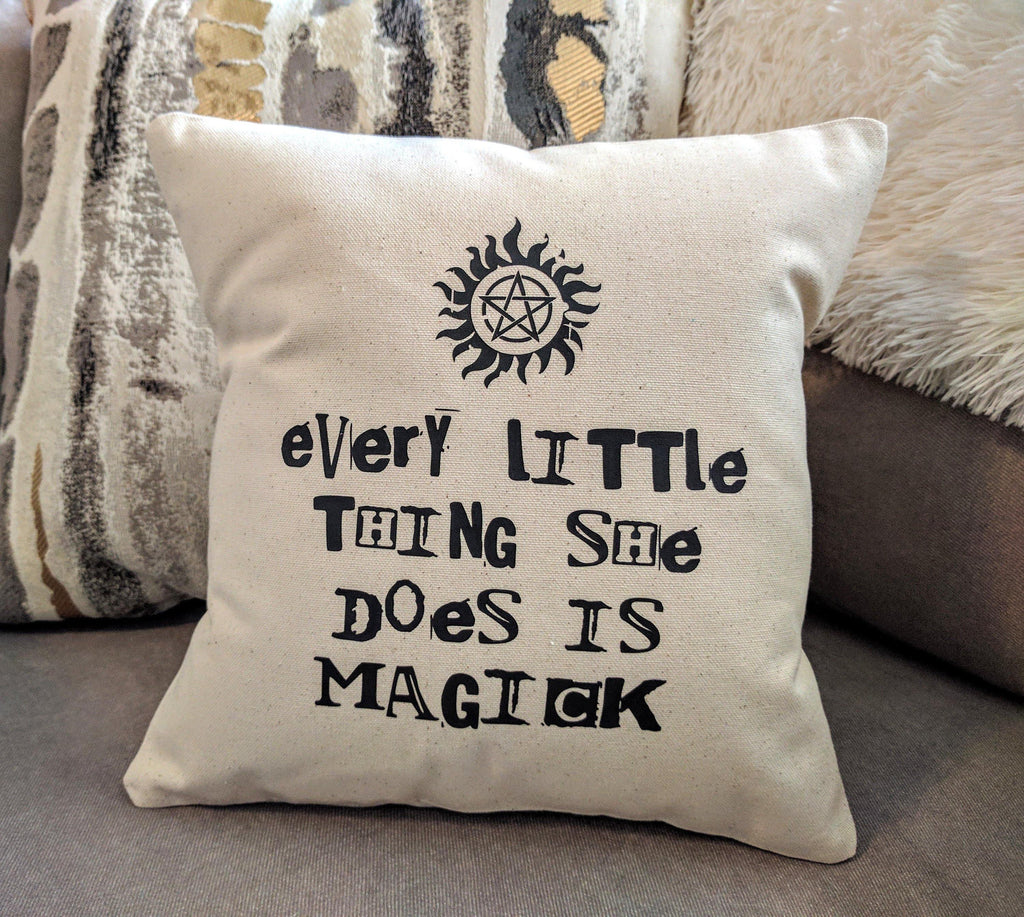 Every Little Thing She Does Is Magick Cotton Canvas Natural Pillow