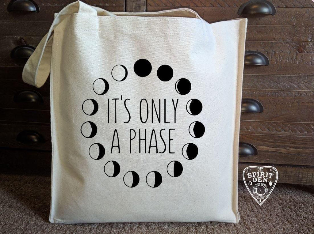 It's Only A Phase Moon Phases Canvas Market Tote Bag