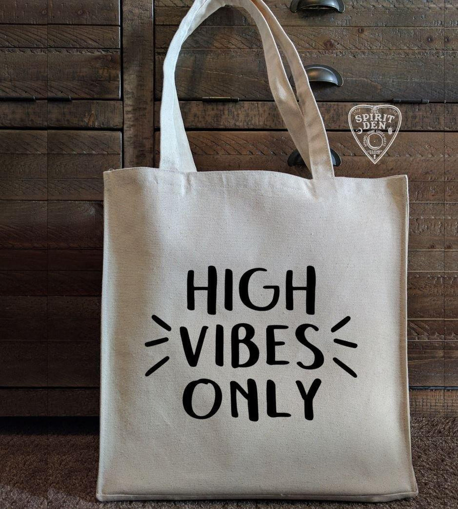 High Vibes Only Cotton Canvas Market Tote Bag