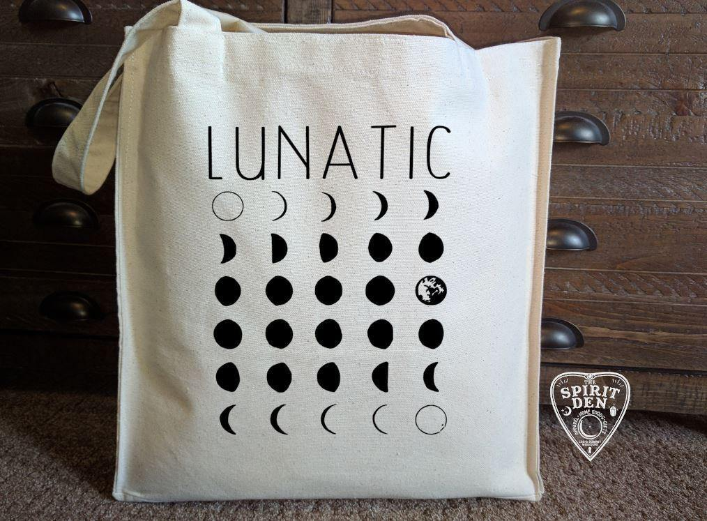 Lunatic Moon Phases Canvas Market Tote Bag - The Spirit Den