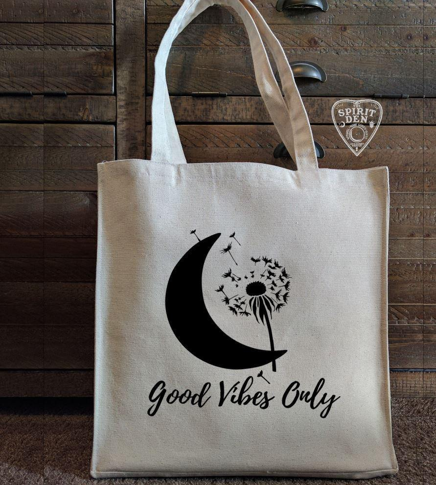 Good Vibes Only Cotton Canvas Market Tote Bag - The Spirit Den