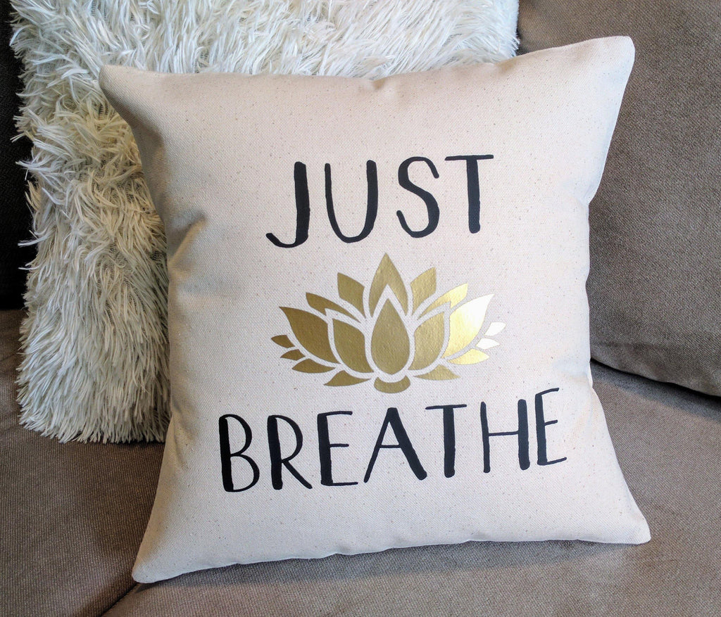 Just Breathe Lotus Flower Cotton Canvas Pillow