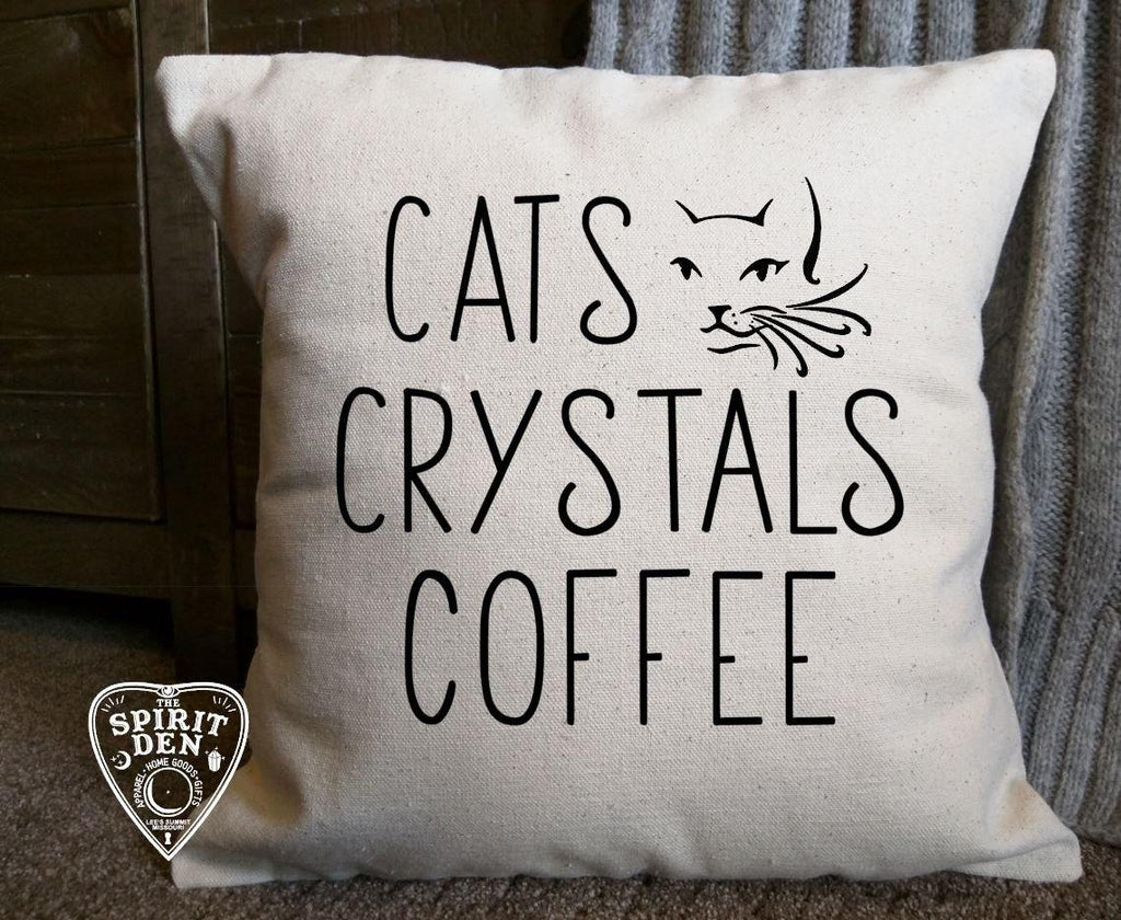 Cats Crystals Coffee Cotton Canvas Natural Pillow