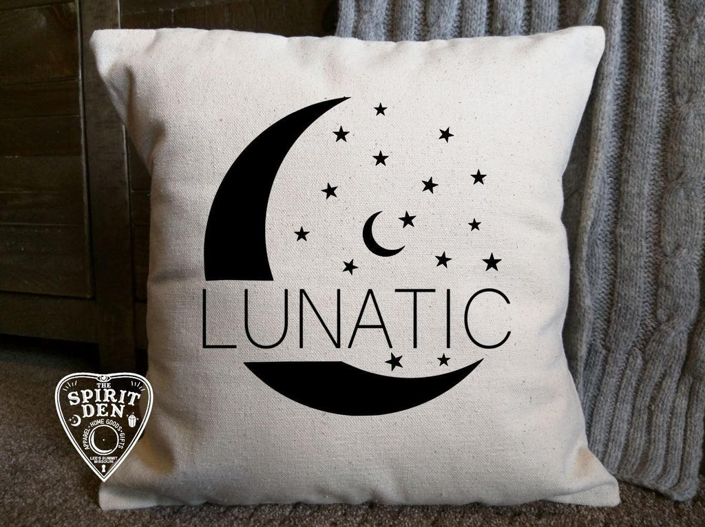 Lunatic Moon Cotton Canvas Natural Pillow