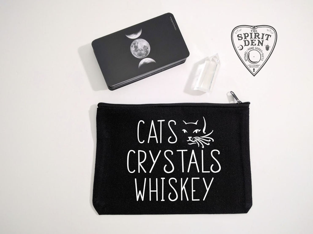 Cats Crystals Whiskey Black Canvas Zipper Bag