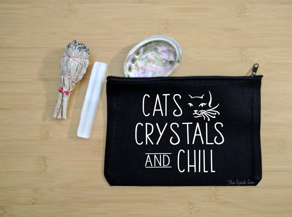 Cats Crystals Chill Black Canvas Zipper Bag