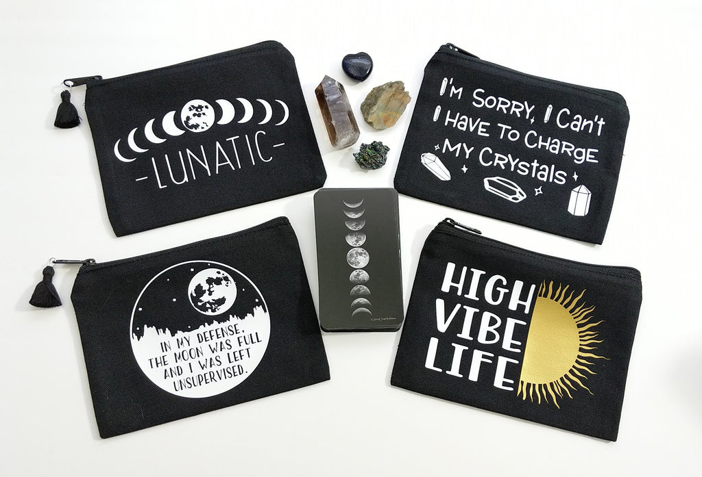 High Vibe Life Black Canvas Zipper Bag
