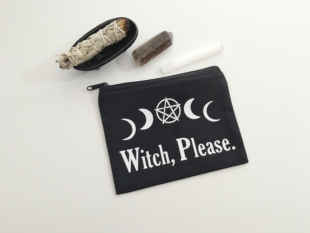Witch Please Pentacle Moons Black Canvas Zipper Bag