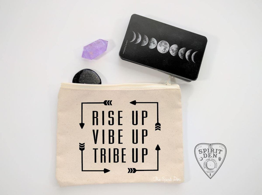 Rise Up Vibe Up Tribe Up Natural Canvas Zipper Bag