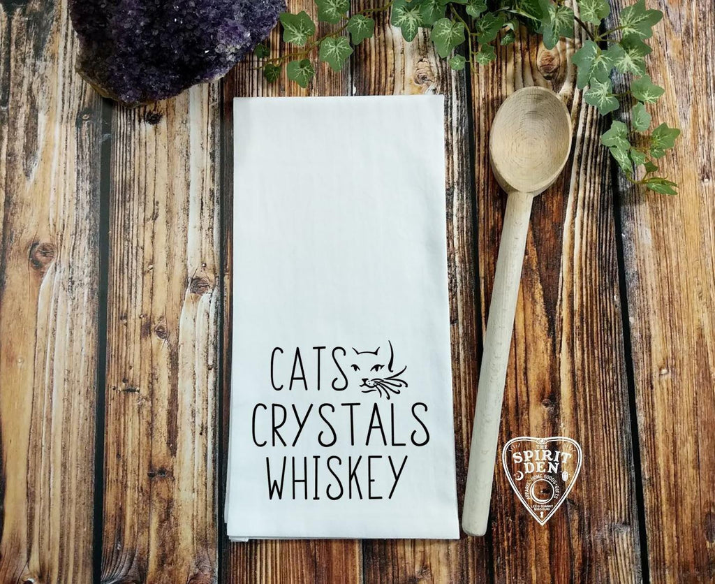 Cats Crystals Whiskey Flour Sack Towel
