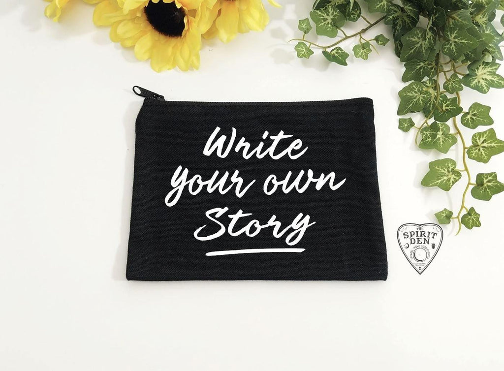 Write Your Own Story Black Canvas Zipper Bag