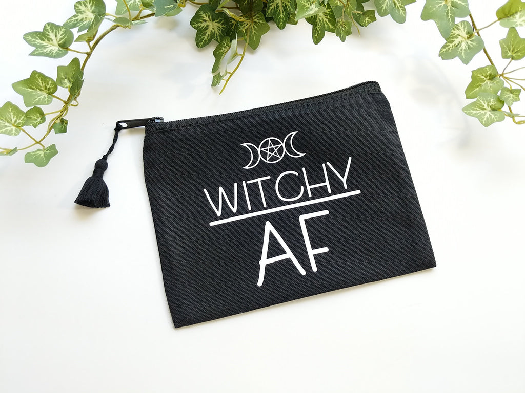 Witchy AF Black Canvas Zipper Bag