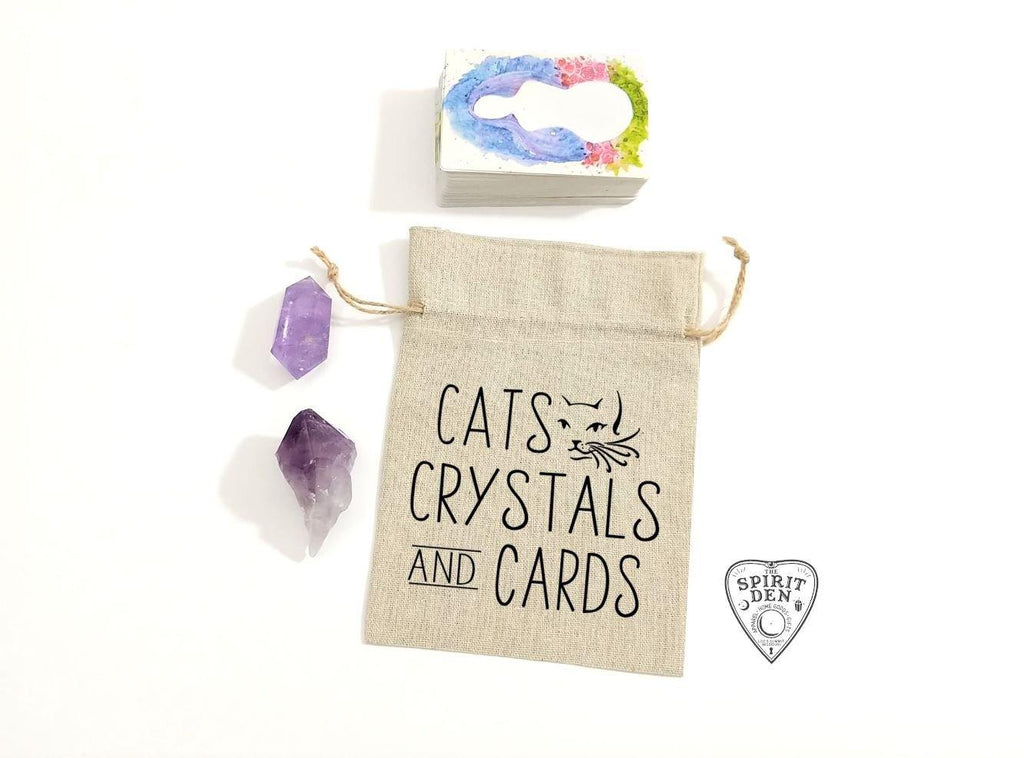 Cats Crystals and Cards Linen  Deck Bag
