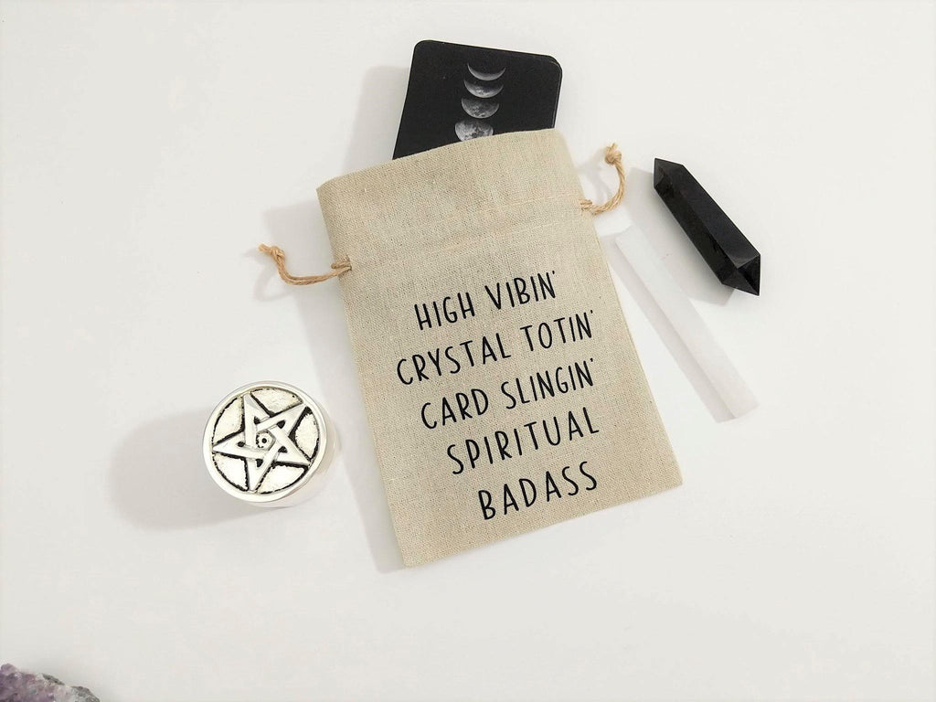 High Vibin Crystal Totin Card Slingin Spiritual Badass Linen Deck Bag