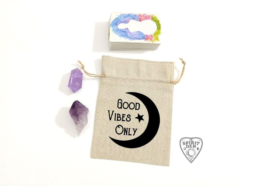 Good Vibes Only Moon Linen Deck Bag