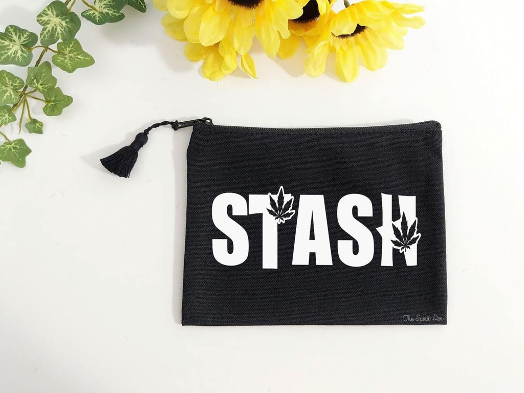 Stash Pot Leaf Black Zipper Bag